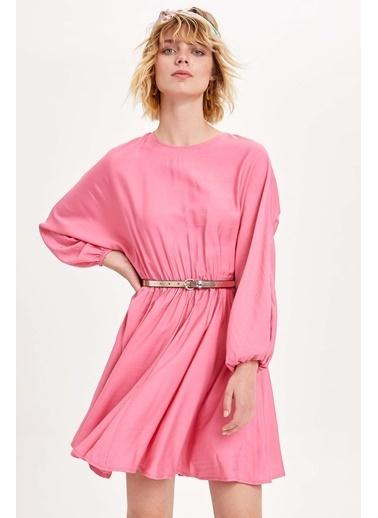 DeFacto Beli Büzgülü Elbise Pembe